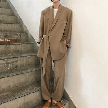 Vintage Notched Collar Lace Up Women Pant Suit Fashion Khaki Female Suits 2 Pieces Set Loose Blazer Jacket & Straight Pant 2019 - DISCOUNT ITEM  45% OFF All Category