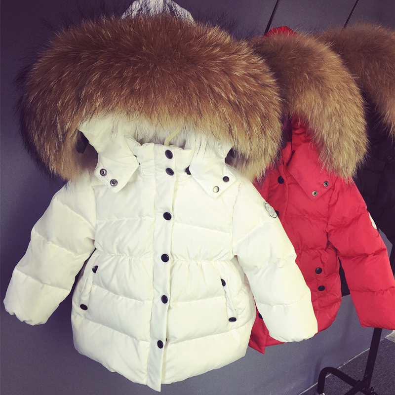 Hot Winter Kids Short Design Thickening White duck down Coat Baby Big Leather fur collar Clothing Toddler Babys Warm Down JacketHot Winter Kids Short Design Thickening White duck down Coat Baby Big Leather fur collar Clothing Toddler Babys Warm Down Jacket