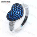 Fantastic 925 Sterling Silver Micro Pave Sapphire Blue Zircon CZ Diamond Large Heart Engagement Ring