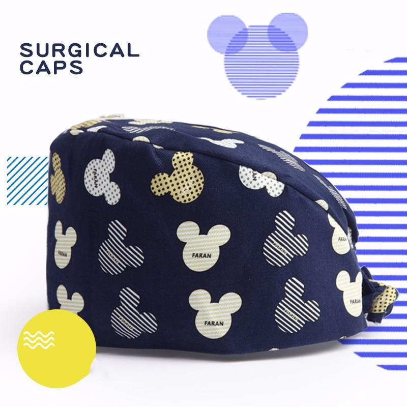 Mouse Navy Unisex Veterinaria Surgical Cap Nurse Work Hat Medical Scrub Caps 100% Cotton Sweatband Chef Ground Dentist Work Hats