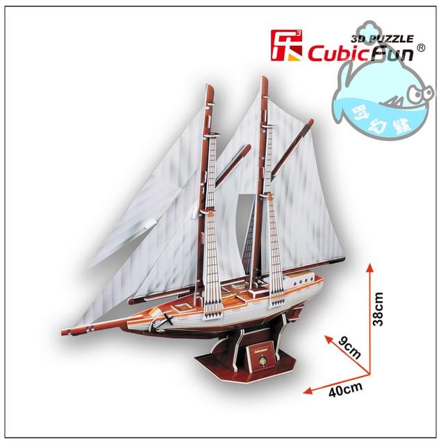 Educational toy 1pc CubicFun double pole Sailing ship 3D paper DIY jigsaw puzzle assembling model kits children boy gift toy