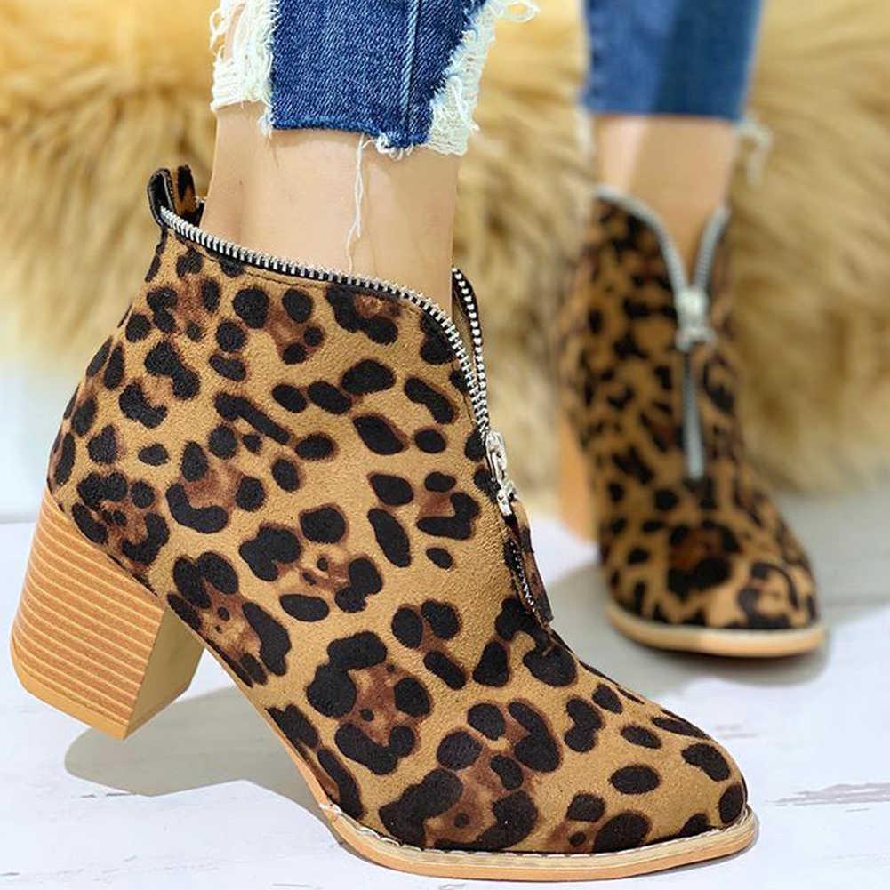 Marka Büyük Boy 35-43 serin akın leopar fermuar Kadın Ayakkabı Kadın moda tıknaz topuklu eğlence Sonbahar yarım çizmeler kadın patik