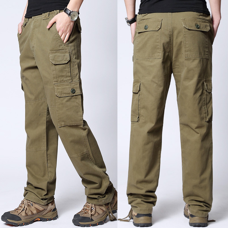 Free shipping Summer thin loose casual trousers male plus size long trousers cotton straight cargo large pants overalls L-6XL