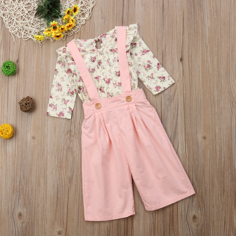 2PCS Toddler Kids Baby Girl Winter Clothes Floral Tops+Pants Overall Outfits sweet girl clothes set 9
