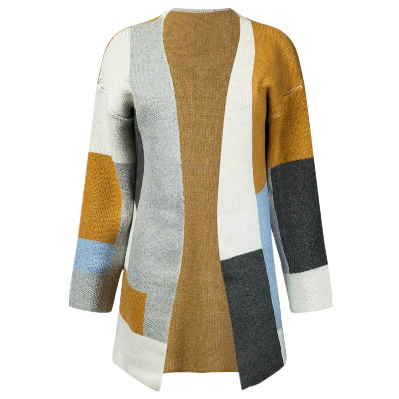 Polychrome Contrast Color Block Longline Cardigan Women Pockets Side Long Sleeve 2017 AutumnWinter Warm Thick Open Front Sweater