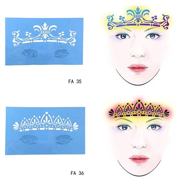 7pc/set Tattoo Stencils For Painting Soft Reusable Face 3D Flower ...
