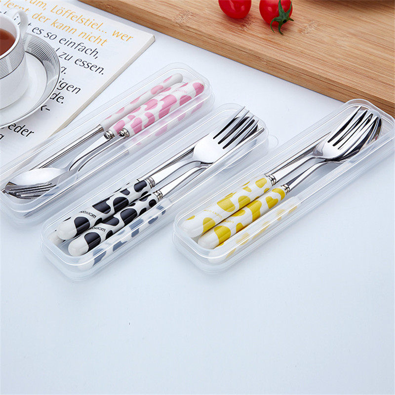 3pcs/set Lovely Cow Design Ceramic Handle Stainless Steel Dinnerware and Storage Box Student Girl Boy Picnic Lunch Tableware