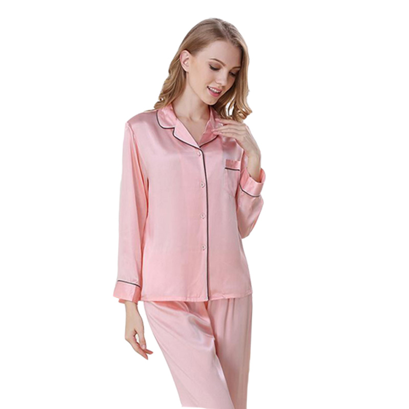 100% Silk Pajama Set for women home clothes suit homewear Trousering lingerie Sleepwear female Lady pyjamas nightgown