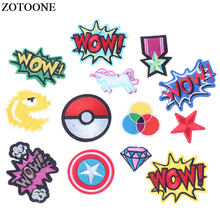 ZOTOONE 1PS Anime Heart Patch Letter Star Cartoon Iron on Patches Kids DIY Cute Sewing Embroidered Patches for Clothing Badges E(China)