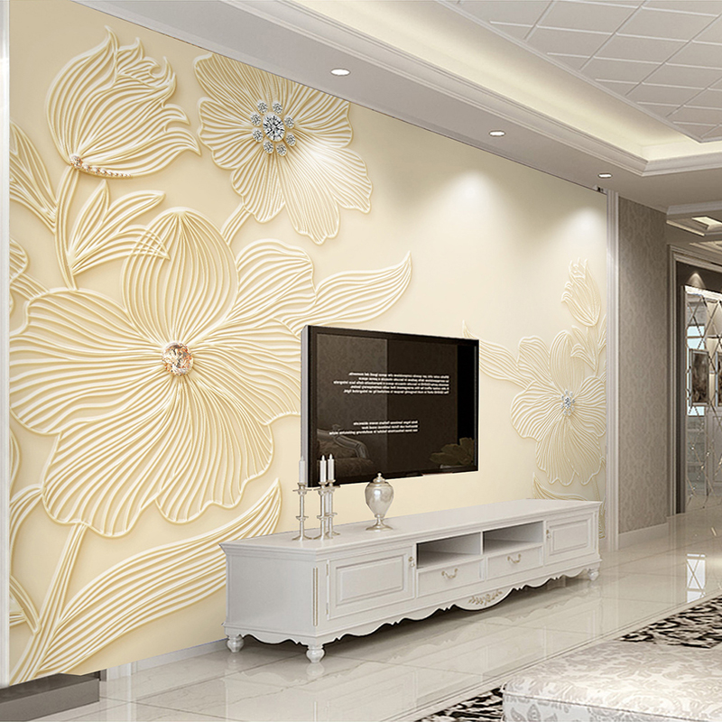 Custom Mural Wallpaper High Quality Diamond Flower Pattern 3D Relief Modern Simple Living Room TV Background Wall Painting Paper custom large modern mural painting three dimensional relief flower 3d tv setting wall wallpaper