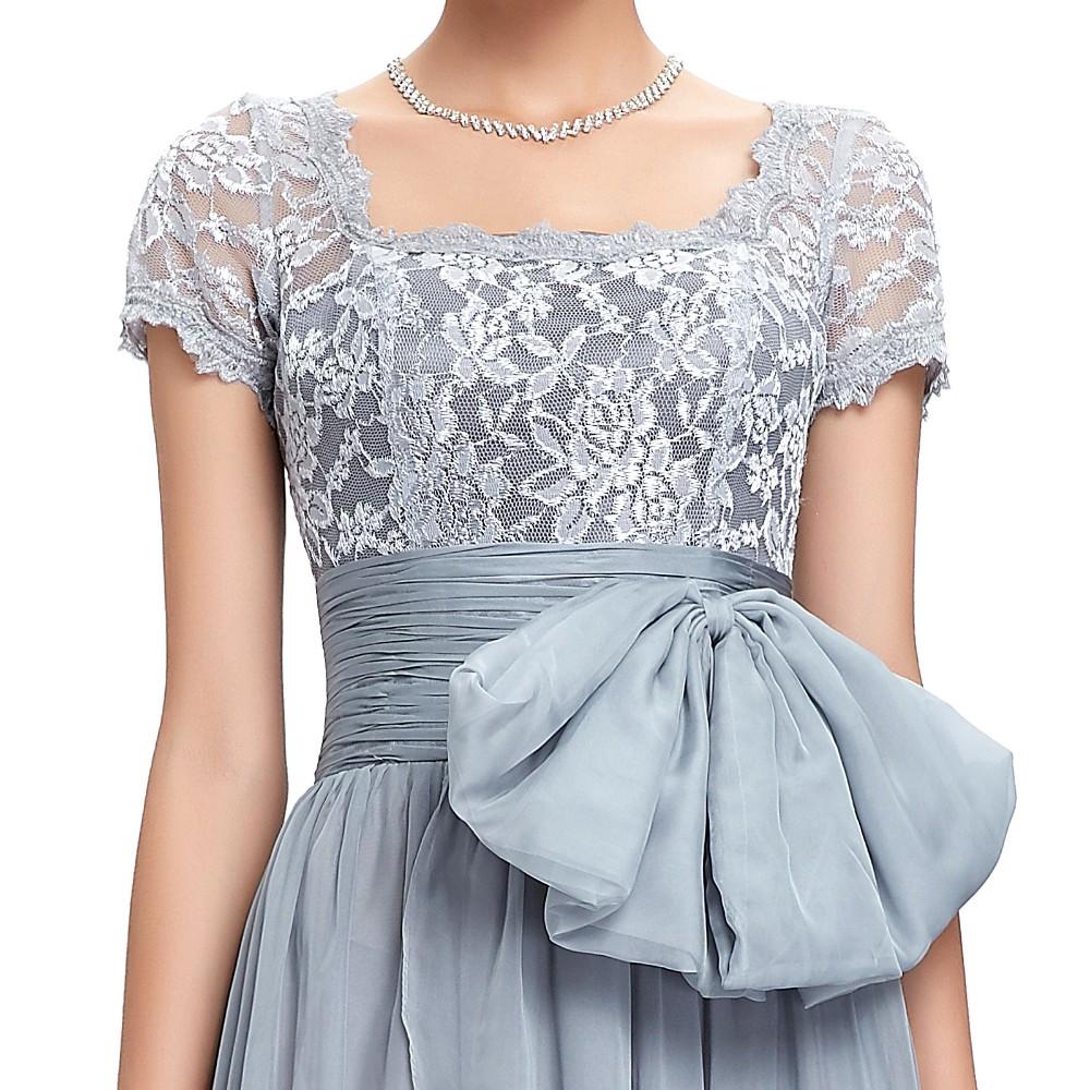 Grace Karin Chiffon Lace Elegant Long Evening Dresses Grey Formal Evening Gowns robe de soiree longue GK4445 11
