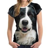FORUDESIGNS Border Collie T Shirt For Women Casual Elastic Ladies Summer Breathable Tshirt 3D Kawaii Tee