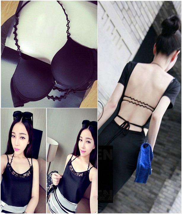 e4f3a7a12e Fashion Strappy Women Bra Soutien Gorge Halter Neck Front Closure Smooth  Surface Racer Back Sexy Push Up Bra Sexy Lingerie-in Bras from Underwear ...