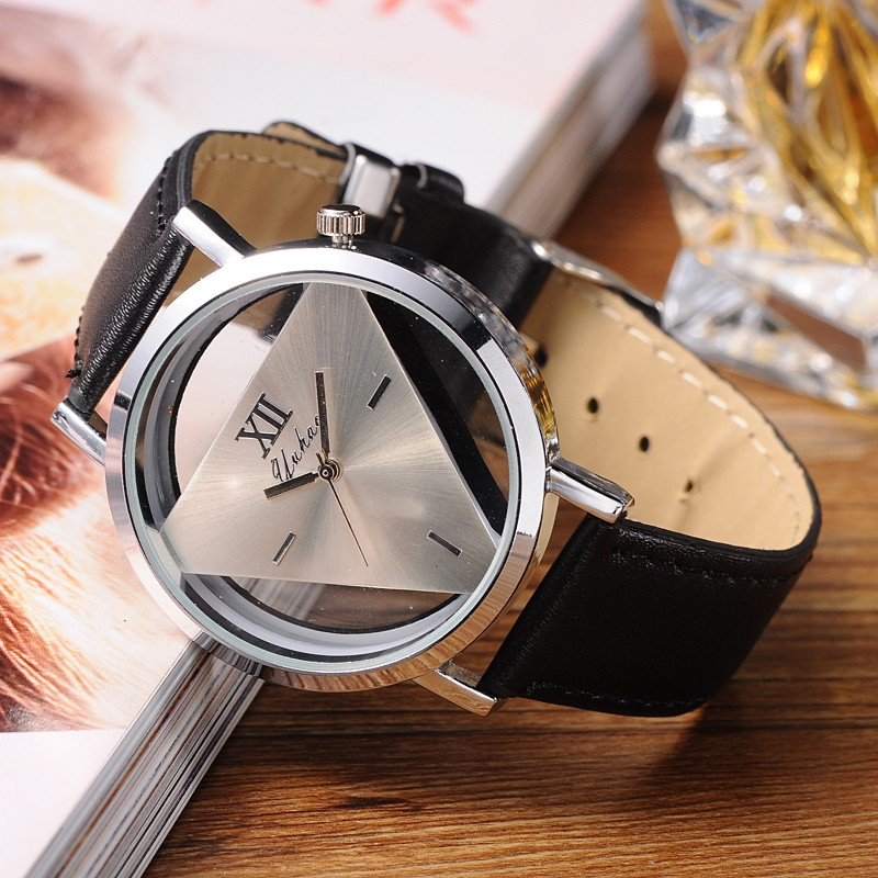 Fashion Leather Band Sport Analog Quartz Women Mens Wrist Watch Triangle Black Wristwatches relogio masculine durable purple women note band analog quartz wrist watch