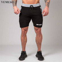 YEMEKE 2018 Men cotton shorts Calf Length Gyms Casual Joggers Workout Brand Sporting Fitness Bodybuilding Short