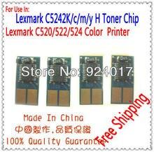 For Lexmak C520 C522 C524 Toner Chip For Lexmark C5222KS C5222CS C5222MS C5222YS Toner For Lexmark