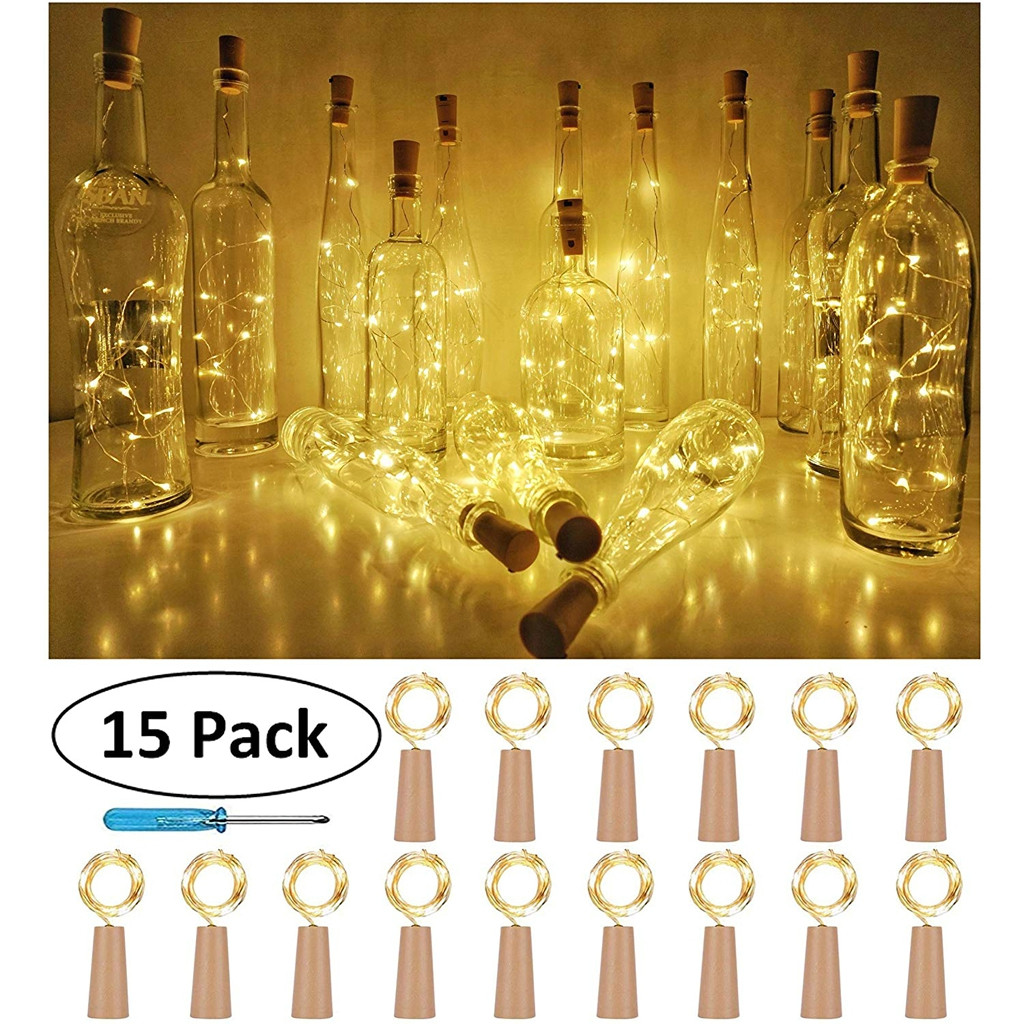 15PCS Bottle Lights Cork Shape For 1M 10 LED Wine Bottle String Party Romantic Home Decor LED Light Guirlande Lumineuse Led