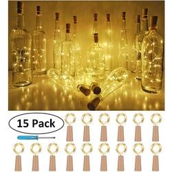 15PCS Fles Lichten Kurk Vorm Voor 1M 10 LED Wijn Fles String Party Romantische Home Decor LED Licht guirlande lumineuse led