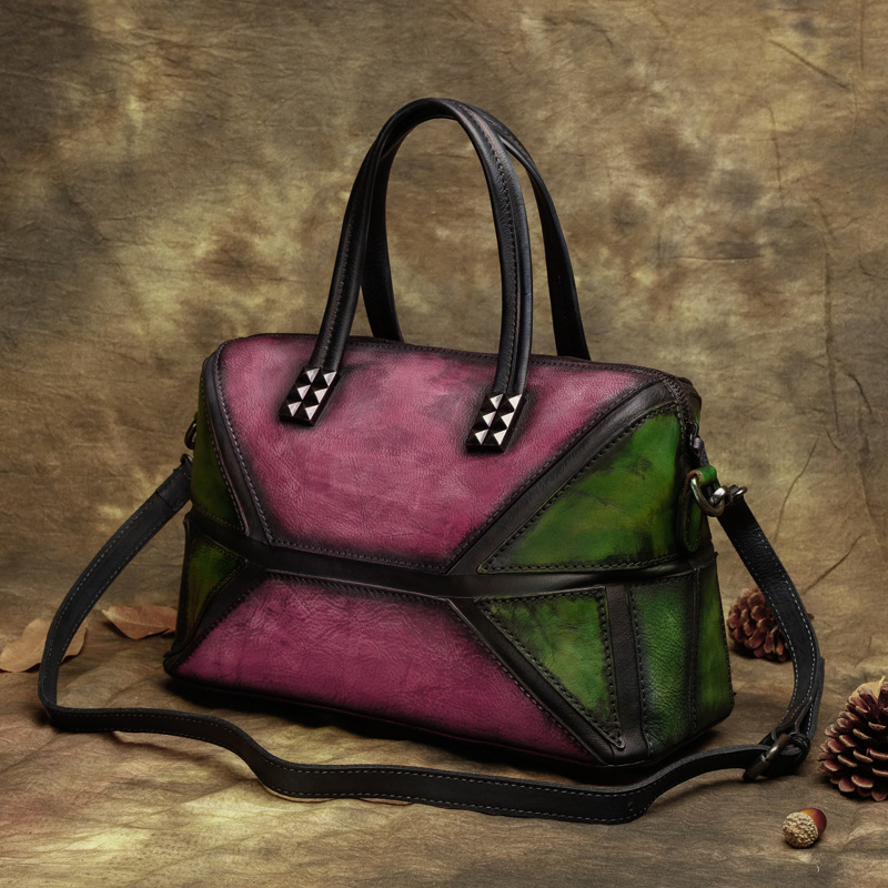 2017 Genuine  Vintage Women Handbag Handmade Cow Leather Top Handle  Totes Patchwork Crossbody Shoulder Messenger Bag