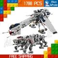 1788 шт. 05053 Звездных Войн Республики Челнока с AT-OT Walker DIY Модель Строительные Блоки Игрушки Совместимы с Lego