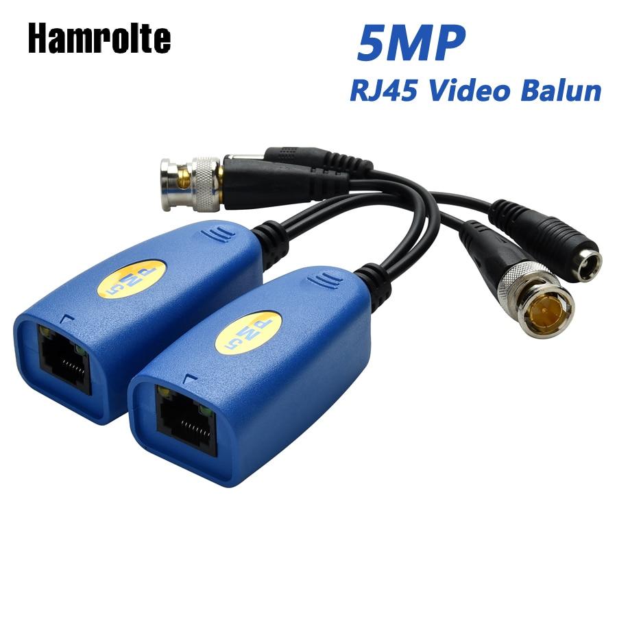 Hamrolte RJ45 HD Video Balun 1CH Passive Power Video Balun For 5MP/4MP/1080P/720P CVI/TVI/AHD/CVBS Camera Cat5/5e/6 Video Balun