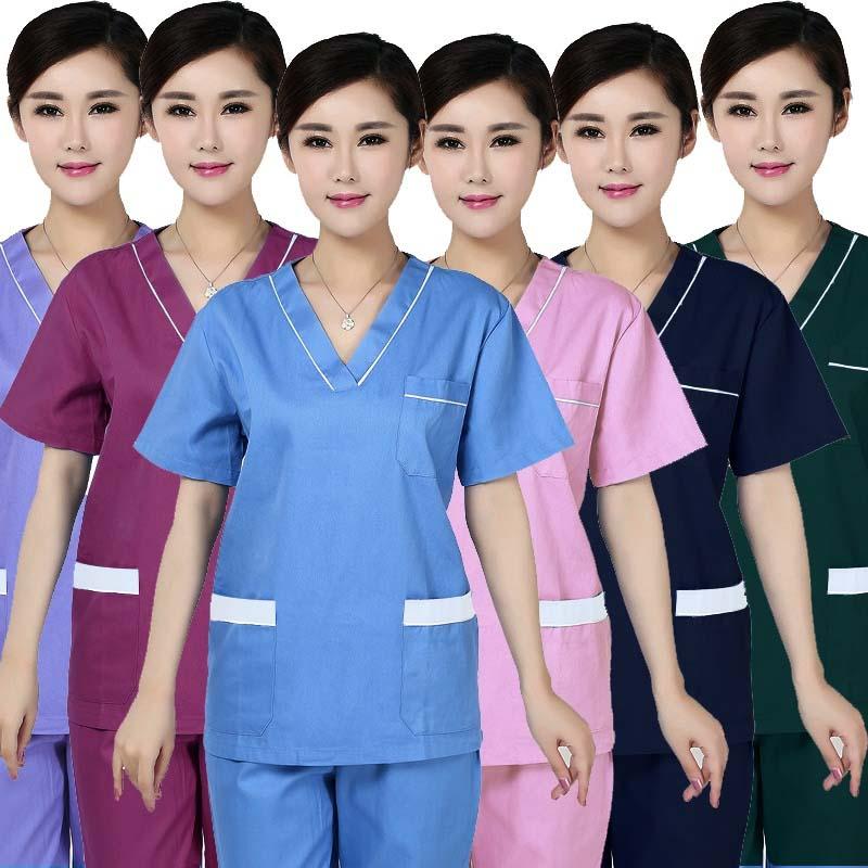 Women's Fashion Scrub Tops Color Blocking Design Nursing Uniforms V-Neck Top Medical Spa Uniform (Just A Top)
