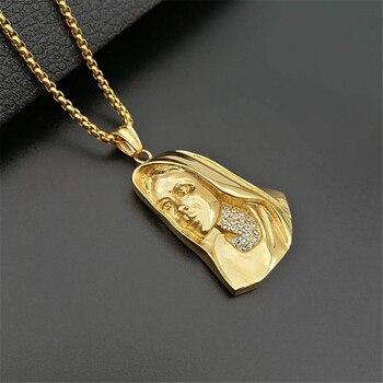 213b0d8b69f1 Hip Hop helado Bling Virgen María collares con colgantes de Color oro 316L de  acero inoxidable Madonna collar mujeres Christian joyería