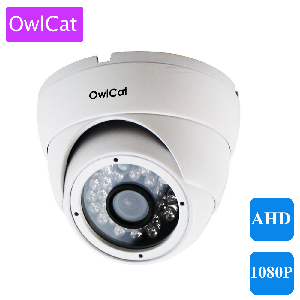 OwlCat Indoor Dome Camera AHD 720P 1080P White Infrared IR Night Vision CCTV Security Video Surveillance AHD-M 1MP 2MP Camera hd 1200tvl cmos ir camera dome infrared plastic indoor ir dome cctv camera night vision ir cut analog camera security video cam