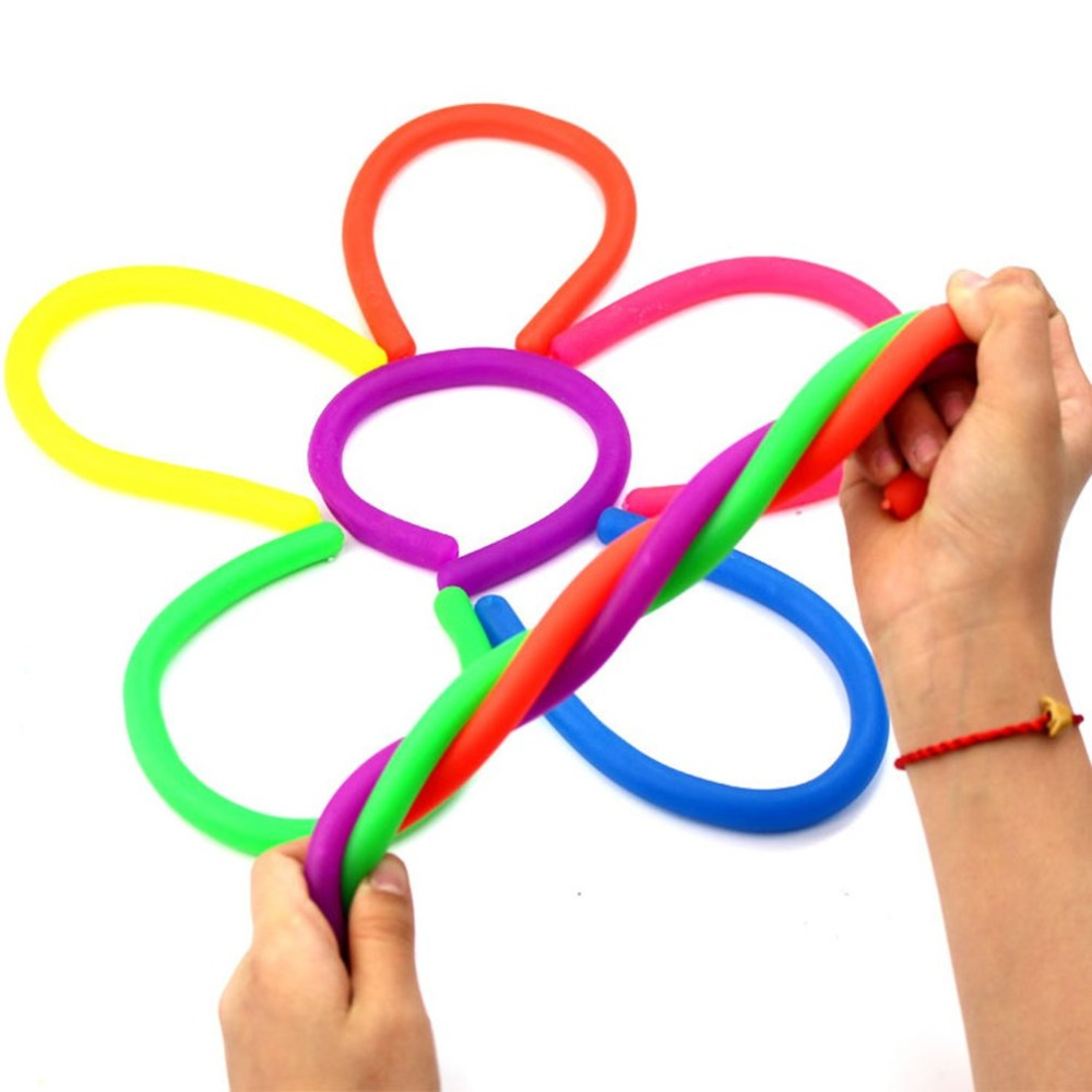 Cute Squishy Toy Colorful Stretchy String Fidget Noodle TPR Squeeze Fun Stress Reliever Toys For Kids Adults Gifts Dropshipping