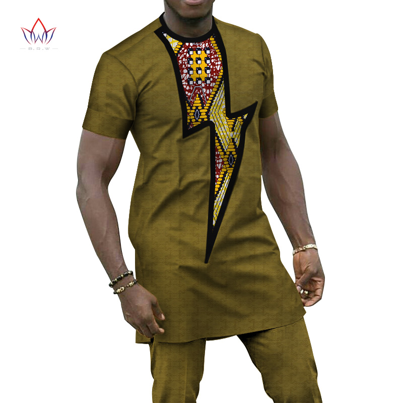 Bazin Riche Men 2 Pieces Pants Sets African Design Clothing African Clothes Casual Men Long Top Shirts and Pants Sets WYN656