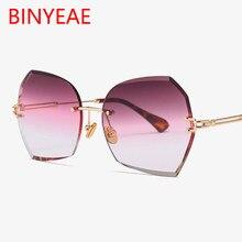 778600cf1c La marca de lujo de gafas de sol de las mujeres 2018, el nuevo borde sin  montura gafas de sol de moda femenina poligonal lentes .