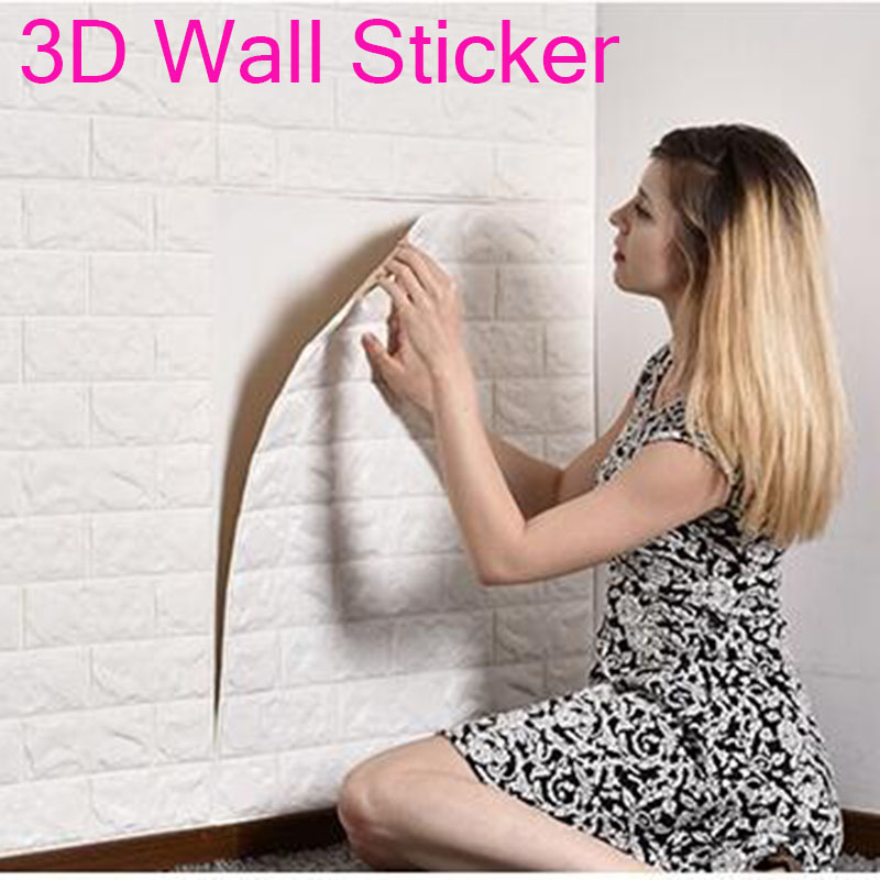 50x50cm DIY 3D Wall Stickers PE Foam Safty Home Decor Wallpaper DIY Wall Decor Brick Living Room Kids Bedroom Decorative Sticker