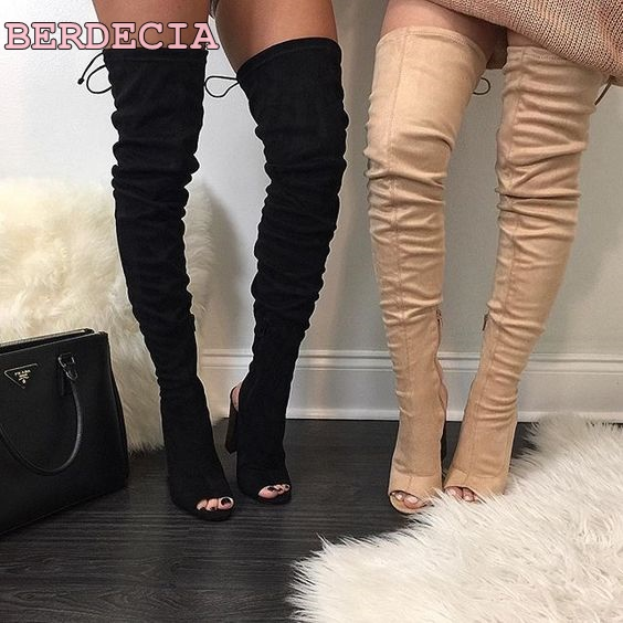 d6c56fc15579 ladies over the knee suede boots peep toe thin heel thigh high boots 2017  newest woman shoes exposed heel long boots on sale-in Over-the-Knee Boots  from ...