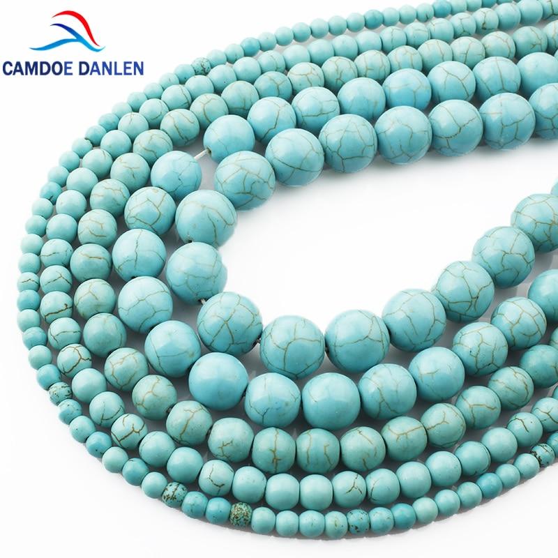 Batu alam, 4 6 8 10 12 mm hijau Howlite manik-manik longgar, Putaran anting diy, Gelang kalung manik-manik membuat perhiasan bagian aksesori