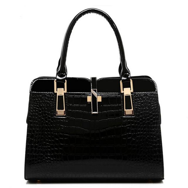 Sólido paquete femenino de la atmósfera de La Manera de las mujeres TOTES bolsa de cocodrilo patrón de bolso de hombro de cuero Bolsa de negocios de Alta calidad