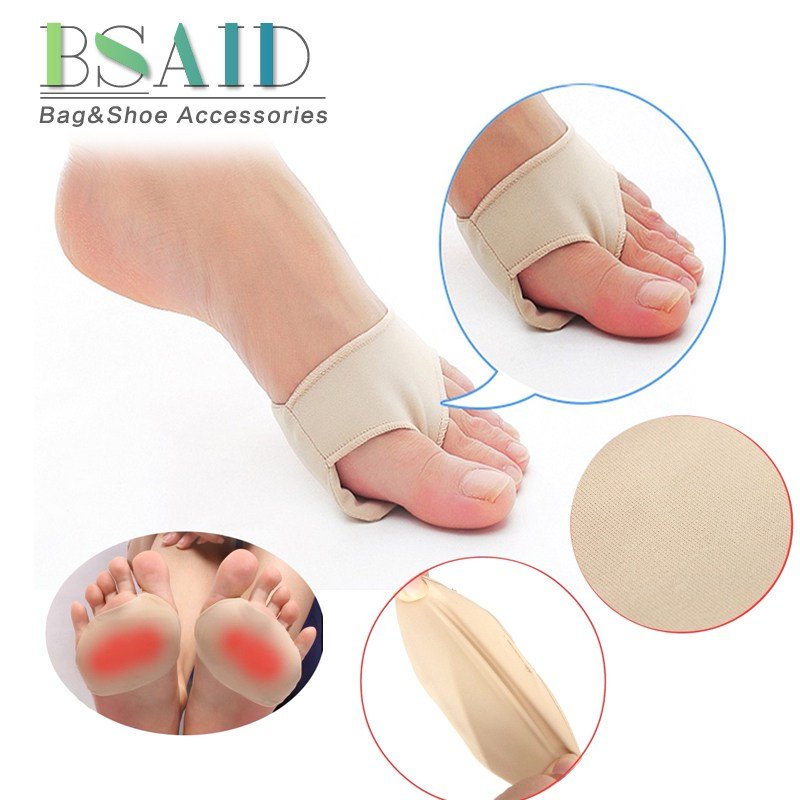 BSAID 1 Pair Forefoot Pads Fabric Gel Cushions Metatarsal Ball Of Foot Insoles Antislip Protector Relief Feet Pain Half Inserts 20 pack 1pcs foot gel forefoot metatarsal pain relief absorber cushion ball of foot pad m