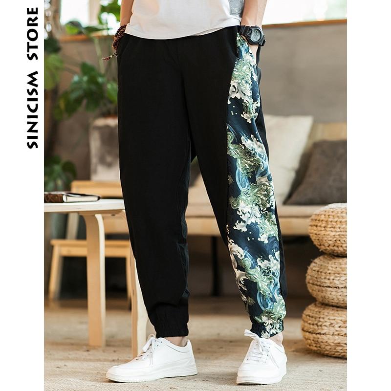 Pants Mens Cotton Linen Trousers Jogger Sinicism Store Print Summer Casual Man Male Ethnic-Style