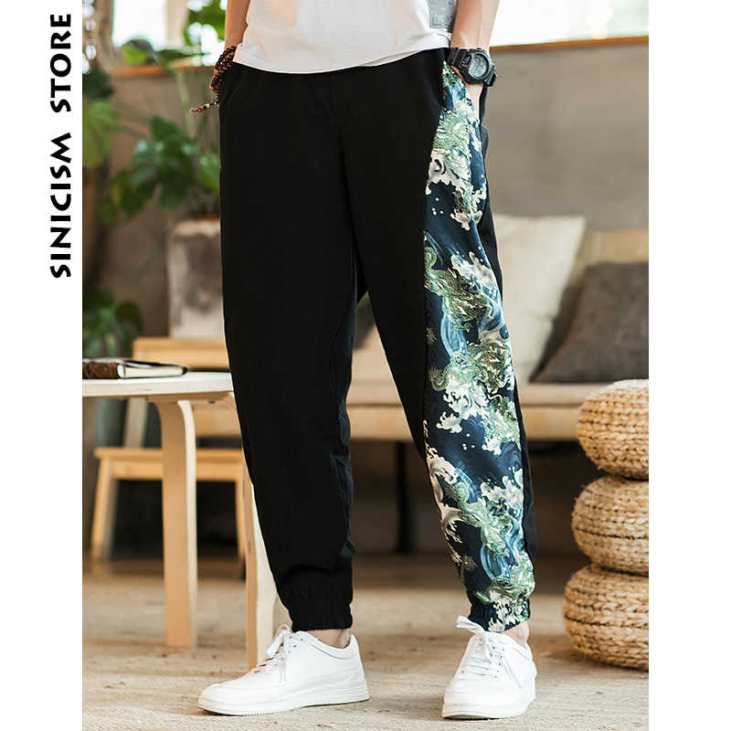 Sinicism Store 2019 Man Cotton Linen Pants Mens Summer Ethnic Style Print Patchwork Pants Male Casual Jogger Trousers