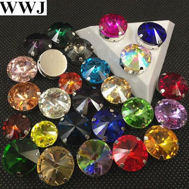 WWJ ALL Colors Sew On Crystal Rivoli Rhinestones In Silver Claw Setting  6 bd26a4848fc1