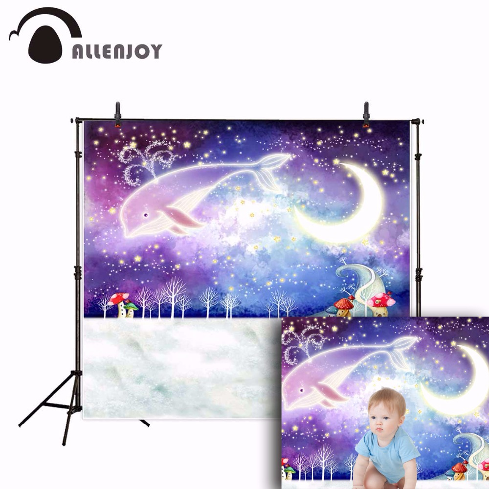 Allenjoy moon backdrops photography Cartoon whale star sky baby shower background for photo studio photocall photozone camera