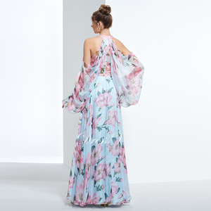 Image 2 - Dressv недорогое вечернее платье с принтом для выпускного вечера, платье трапециевидной формы с лямкой через шею и длинными рукавами, вечернее платье, элегантное женское длинное вечернее платье es
