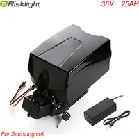 Frog type battery 36v 25ah electric bike li ion battery 36v 18650 1000W battery pack with BMS and charger
