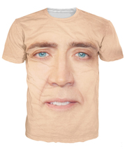The Giant Blown Up Face of Nicolas Cage T-Shirt National Treasure 3D Print T Shirt Women Men Summer Style Tees Tees Tops