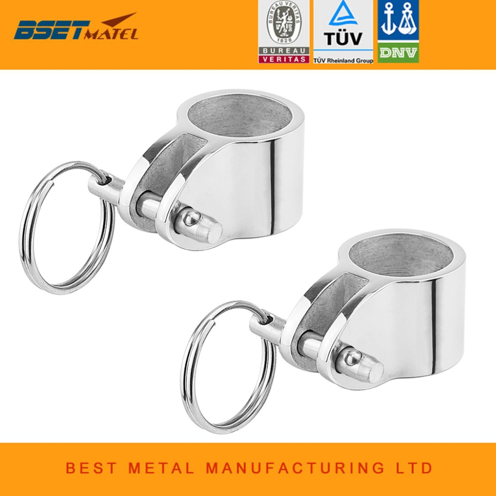 2x Jaw Slide Hinged Stainless Steel Bimini Top Fittings for 20//22//25mm Tube