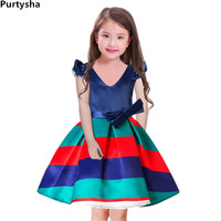 Girls Dress 2018 Summer Toddler Kids Floral Graduation Gowns V Neck Stripe With Bow Princess Dress