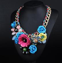 N00143 2016 new Wholesale 12pcs maxi bohemian Necklace Pendants Unique Fashion Flower Choker Statement Necklace Jewelry