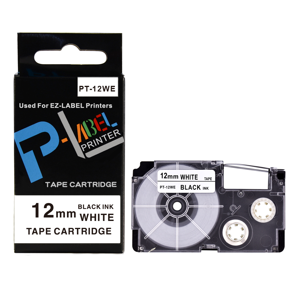 1PCS Label 12mm Compatible Tape Black on White 12mm XR-12WE Label Tape Cartridge for Casio EZ label Printer KL-120 KL-430 KL-60 image