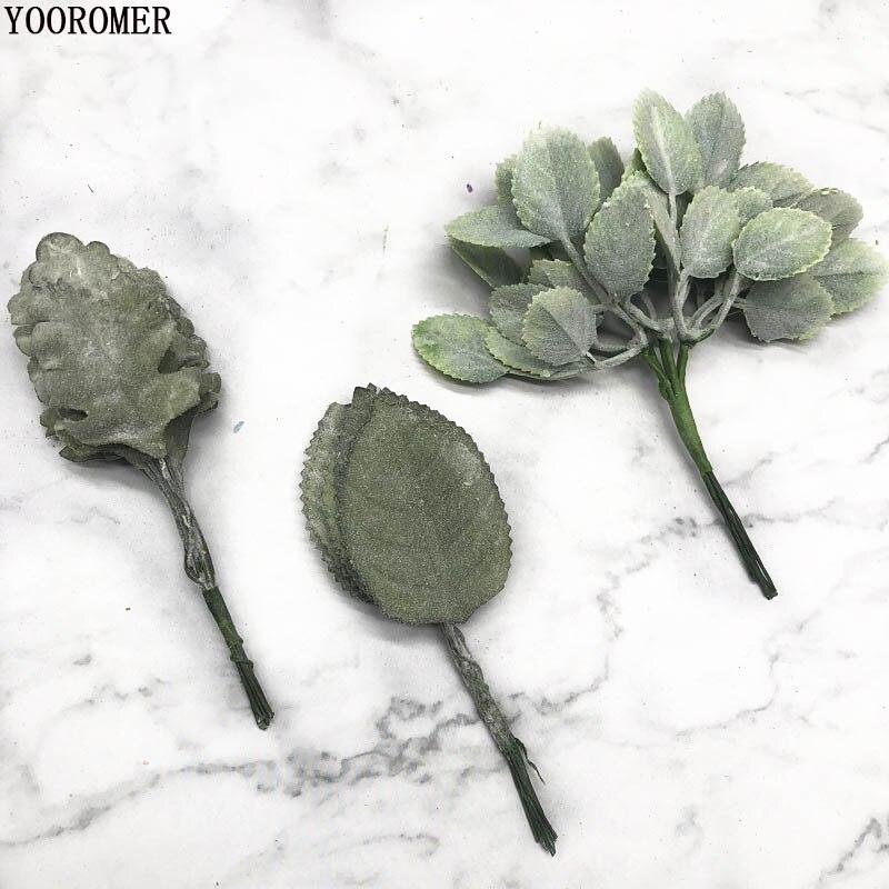 YOOROMER 10 штук зеленый искусственный хвои искусственные листья цветы для ручной DIY рождественские украшения для дома