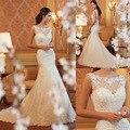 Довольно красивая девушка 2015 длиной до пола Русалка Свадебные платья Романтические Невесты Платье На Заказ Модные vestidos de noiva