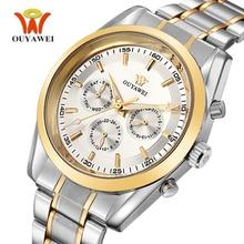 OUYAWEI Business Date Sub-dial Luxury Watch Men Automatic Mechanic Stainless Steel Waterproof Self Winding Mens Watch Hour Clock